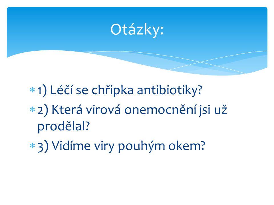  1) Léčí se chřipka antibiotiky?  2) Která virová onemocnění jsi už prodělal?  3) Vidíme viry pouhým okem? Otázky: