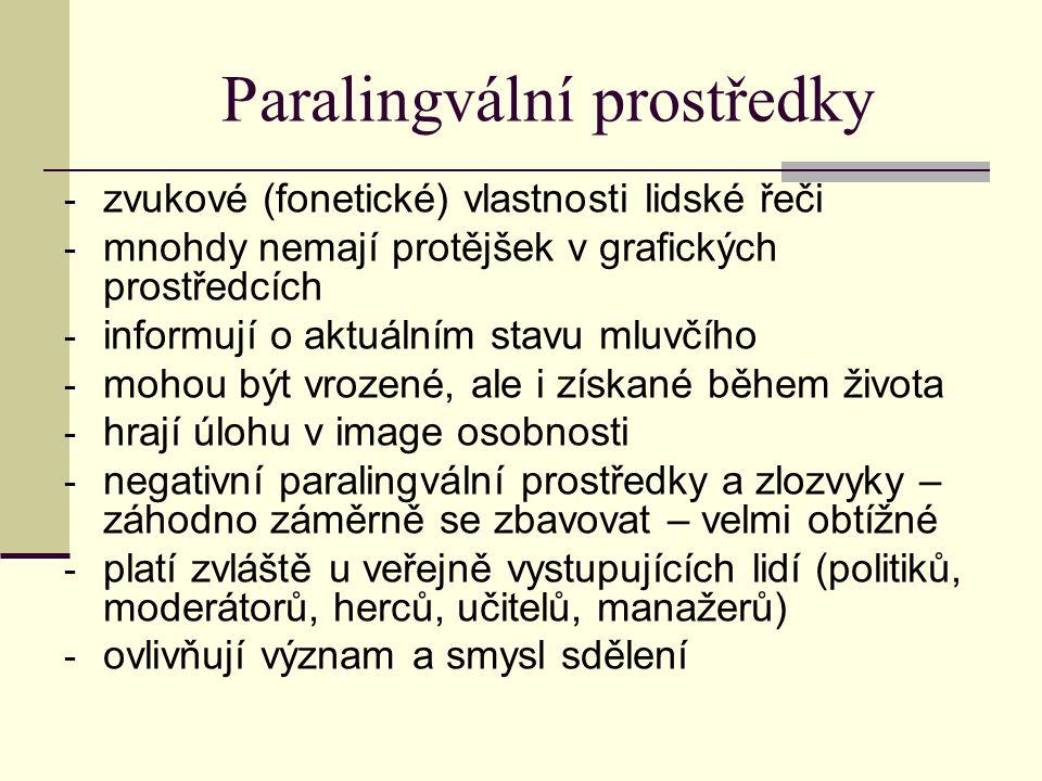 Paralingvální prostředky - zvukové (fonetické) vlastnosti lidské řeči - mnohdy nemají protějšek v grafických prostředcích - informují o aktuálním stav