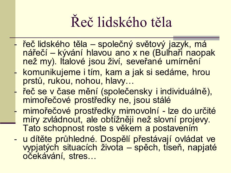 Řeč lidského těla - řeč lidského těla – společný světový jazyk, má nářečí – kývání hlavou ano x ne (Bulhaři naopak než my). Italové jsou živí, seveřan