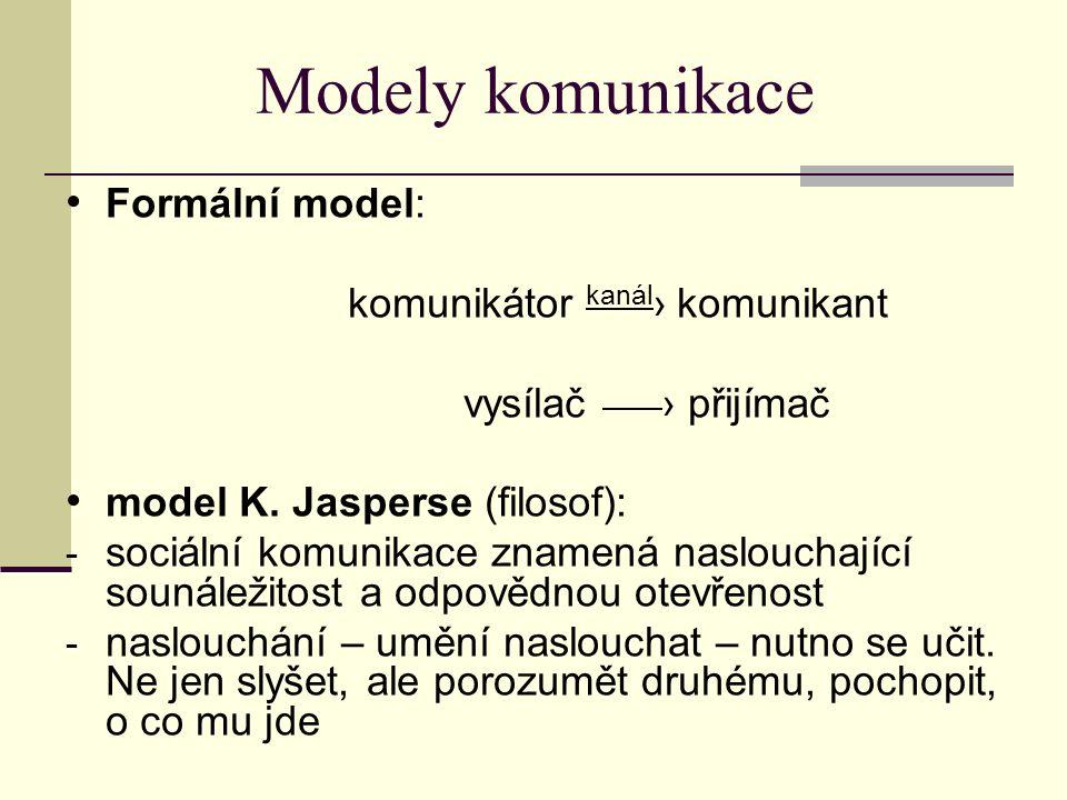 Modely komunikace Formální model: komunikátor kanál › komunikant vysílač › přijímač model K. Jasperse (filosof): - sociální komunikace znamená naslouc