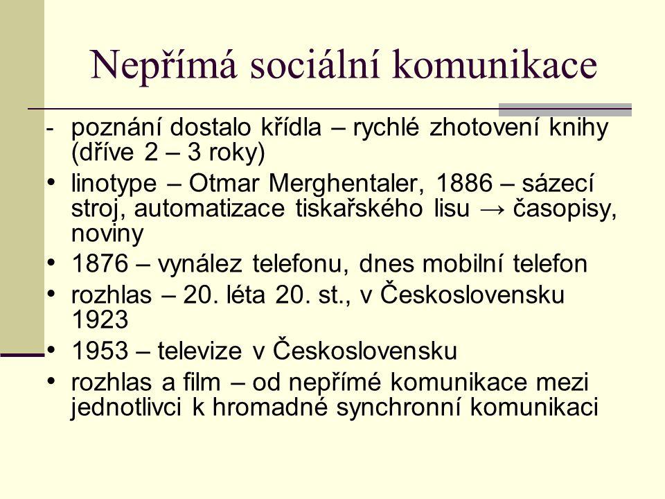 Nepřímá sociální komunikace - poznání dostalo křídla – rychlé zhotovení knihy (dříve 2 – 3 roky) linotype – Otmar Merghentaler, 1886 – sázecí stroj, a