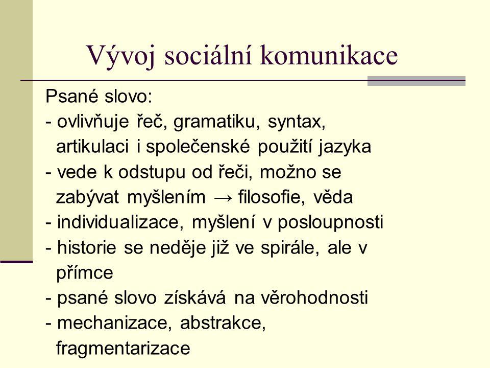 Vývoj sociální komunikace Psané slovo: - ovlivňuje řeč, gramatiku, syntax, artikulaci i společenské použití jazyka - vede k odstupu od řeči, možno se