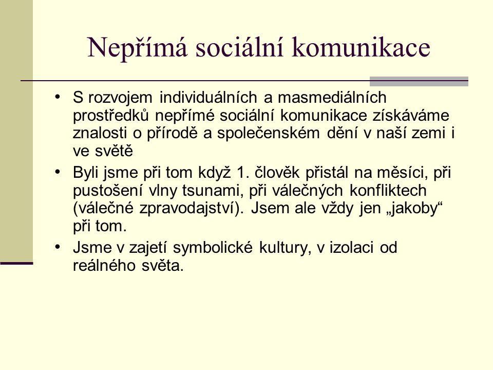 Nepřímá sociální komunikace S rozvojem individuálních a masmediálních prostředků nepřímé sociální komunikace získáváme znalosti o přírodě a společensk