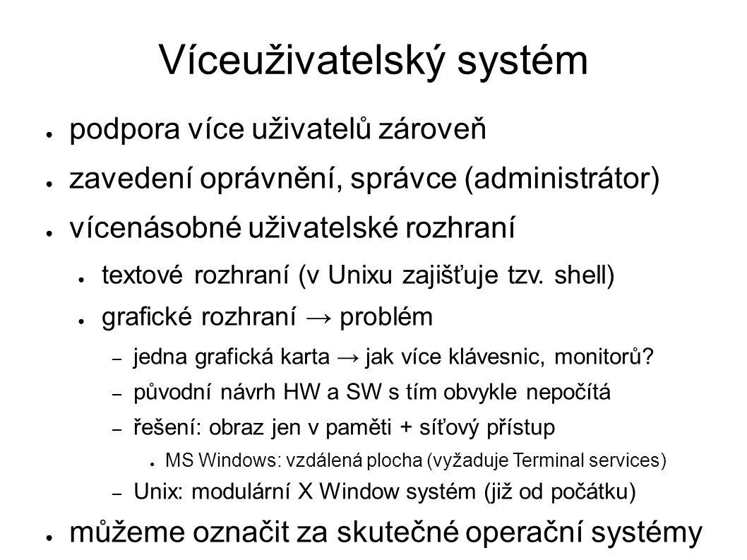 Víceuživatelský systém ● podpora více uživatelů zároveň ● zavedení oprávnění, správce (administrátor) ● vícenásobné uživatelské rozhraní ● textové rozhraní (v Unixu zajišťuje tzv.