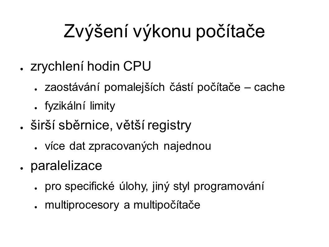Zvýšení výkonu počítače ● zrychlení hodin CPU ● zaostávání pomalejších částí počítače – cache ● fyzikální limity ● širší sběrnice, větší registry ● ví