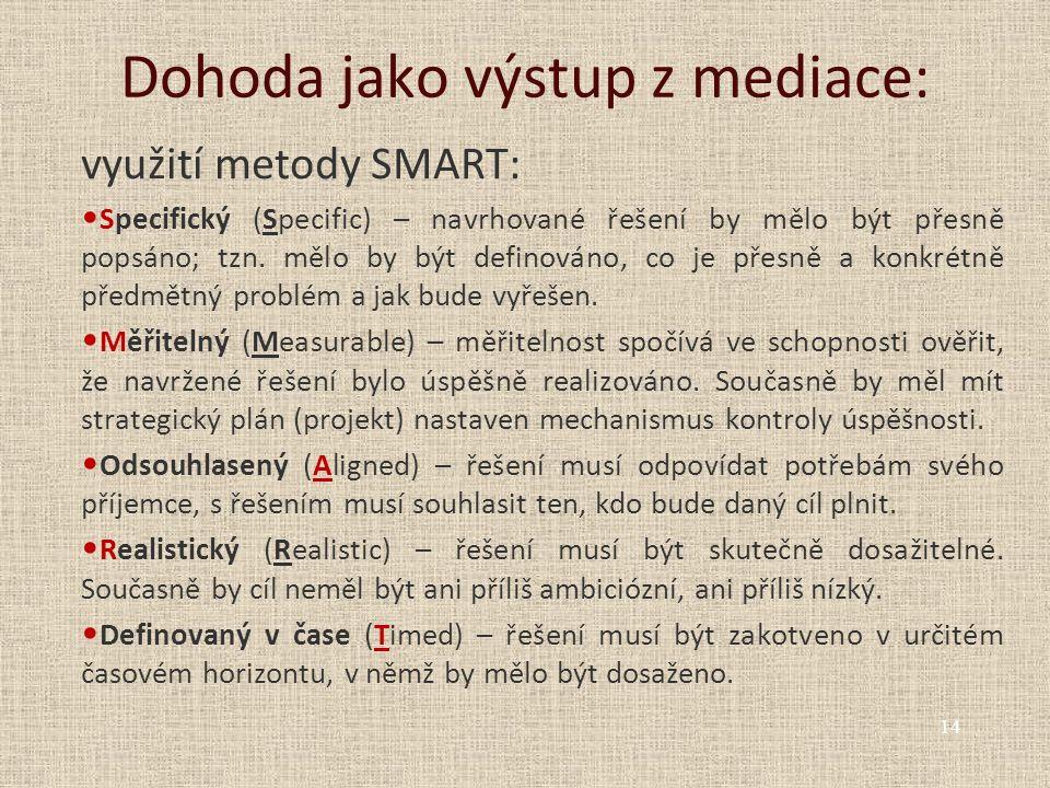 Dohoda jako výstup z mediace: využití metody SMART: Specifický (Specific) – navrhované řešení by mělo být přesně popsáno; tzn. mělo by být definováno,