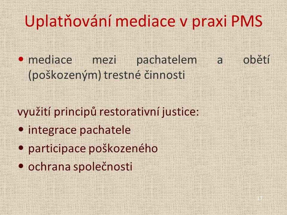 Uplatňování mediace v praxi PMS mediace mezi pachatelem a obětí (poškozeným) trestné činnosti využití principů restorativní justice: integrace pachatele participace poškozeného ochrana společnosti 17