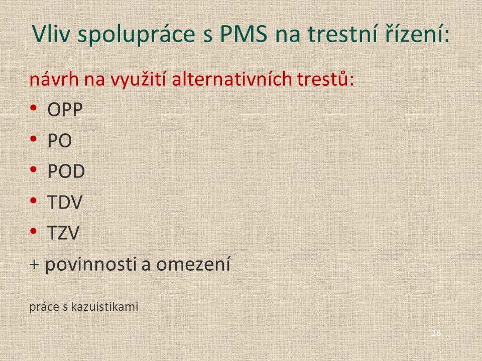 Vliv spolupráce s PMS na trestní řízení: návrh na využití alternativních trestů: OPP PO POD TDV TZV + povinnosti a omezení práce s kazuistikami 26