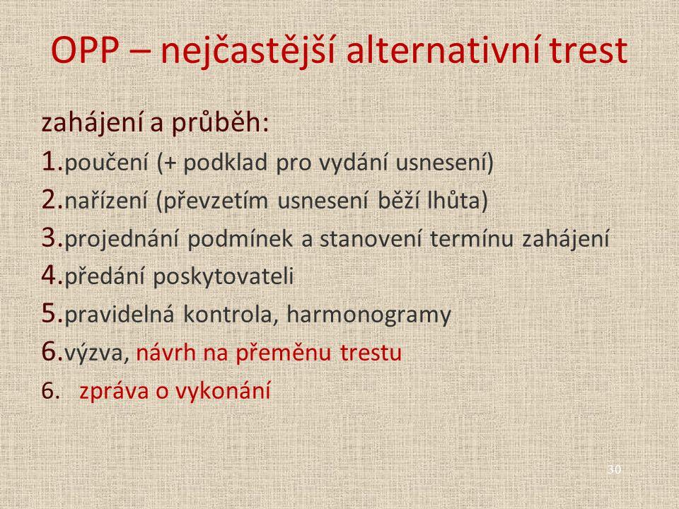 OPP – nejčastější alternativní trest zahájení a průběh: 1. poučení (+ podklad pro vydání usnesení) 2. nařízení (převzetím usnesení běží lhůta) 3. proj