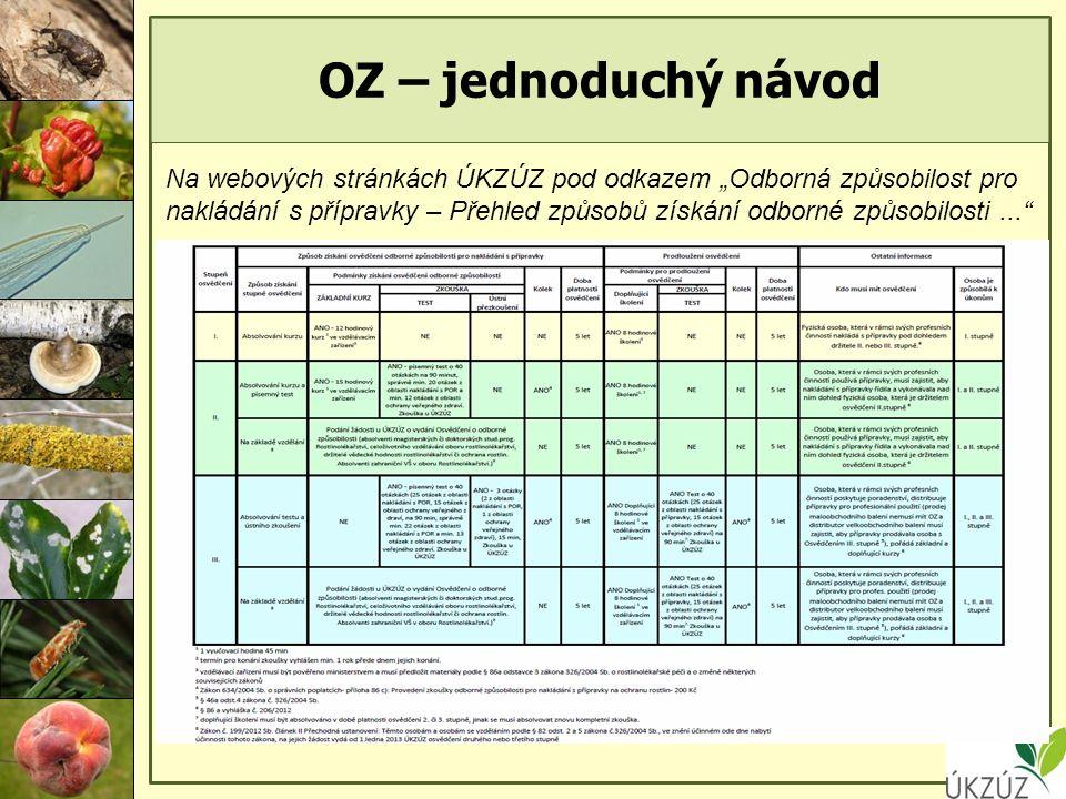 """OZ – jednoduchý návod Na webových stránkách ÚKZÚZ pod odkazem """"Odborná způsobilost pro nakládání s přípravky – Přehled způsobů získání odborné způsobilosti..."""
