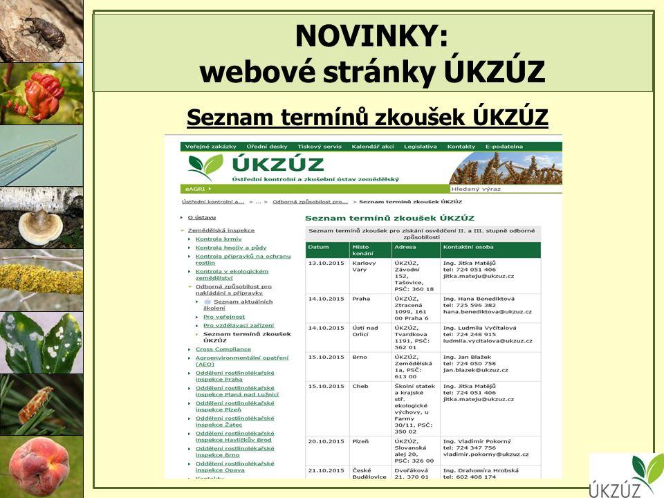 NOVINKY: webové stránky ÚKZÚZ Seznam termínů zkoušek ÚKZÚZ