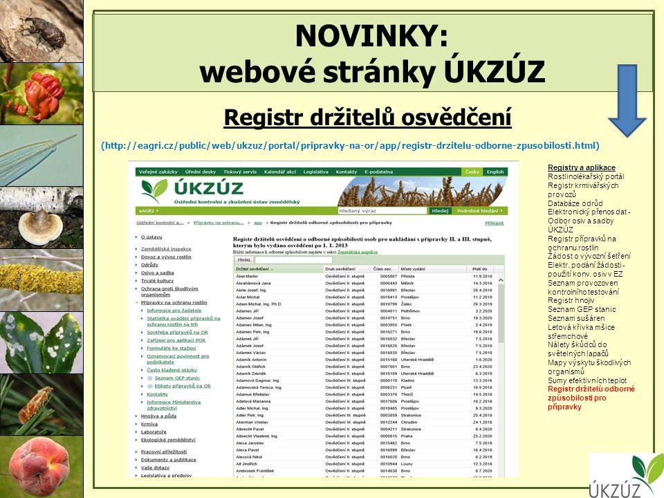 NOVINKY: webové stránky ÚKZÚZ Registr držitelů osvědčení (http://eagri.cz/public/web/ukzuz/portal/pripravky-na-or/app/registr-drzitelu-odborne-zpusobilosti.html) Registry a aplikace Rostlinolékařský portál Registr krmivářských provozů Databáze odrůd Elektronický přenos dat - Odbor osiv a sadby ÚKZÚZ Registr přípravků na ochranu rostlin Žádost o vývozní šetření Elektr.