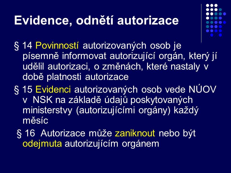 Evidence, odnětí autorizace § 14 Povinností autorizovaných osob je písemně informovat autorizující orgán, který jí udělil autorizaci, o změnách, které nastaly v době platnosti autorizace § 15 Evidenci autorizovaných osob vede NÚOV v NSK na základě údajů poskytovaných ministerstvy (autorizujícími orgány) každý měsíc § 16 Autorizace může zaniknout nebo být odejmuta autorizujícím orgánem
