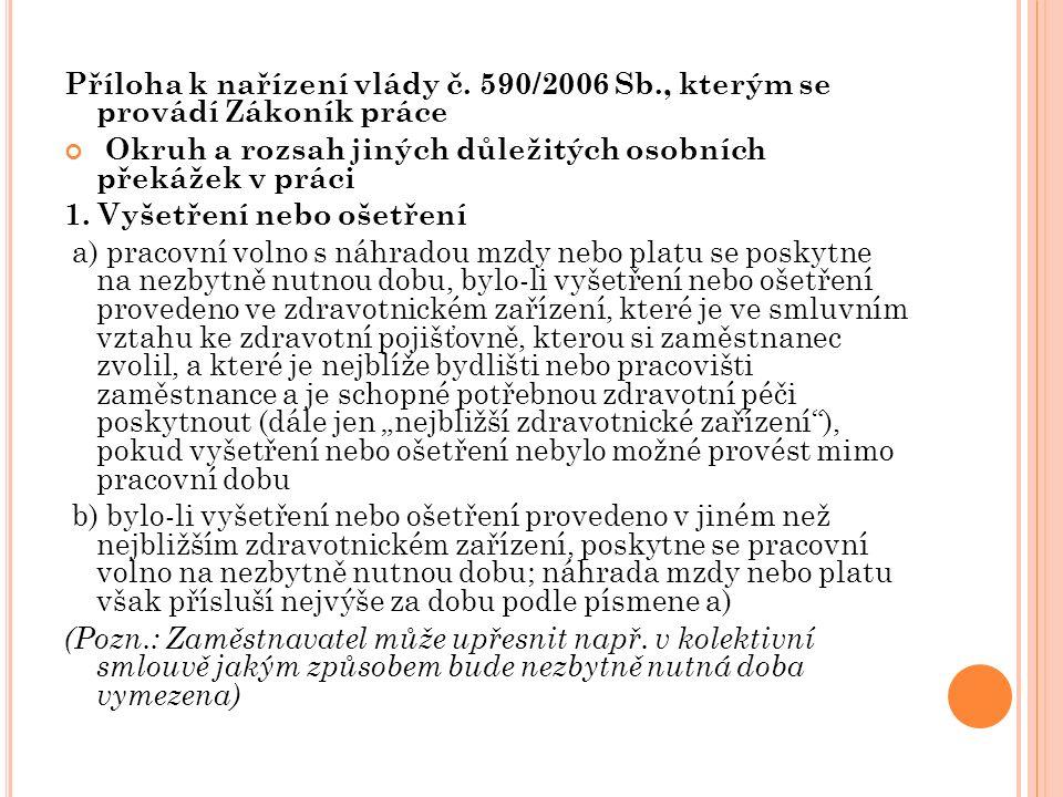 Příloha k nařízení vlády č. 590/2006 Sb., kterým se provádí Zákoník práce Okruh a rozsah jiných důležitých osobních překážek v práci 1. Vyšetření nebo