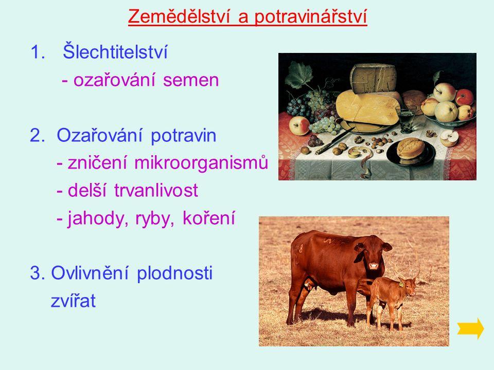 Zemědělství a potravinářství 1.Šlechtitelství - ozařování semen 2.