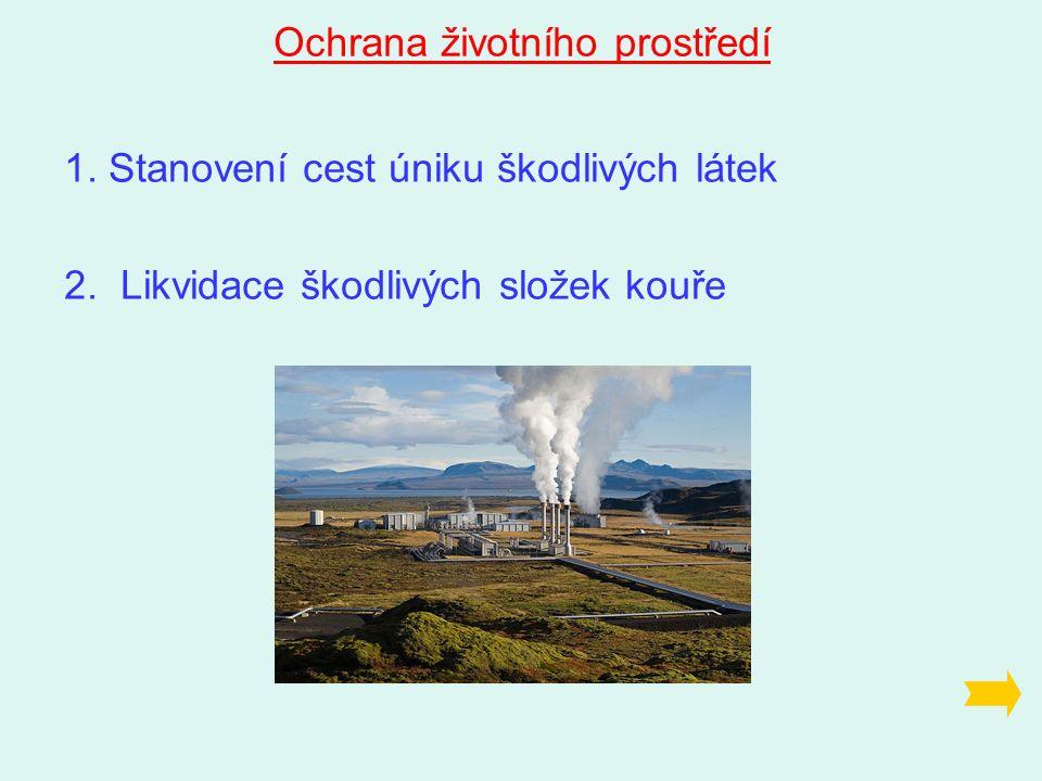 Ochrana životního prostředí 1. Stanovení cest úniku škodlivých látek 2.