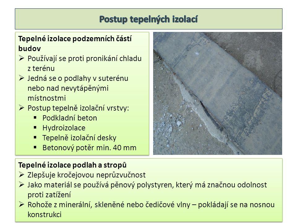 Tepelné izolace podzemních částí budov  Používají se proti pronikání chladu z terénu  Jedná se o podlahy v suterénu nebo nad nevytápěnými místnostmi  Postup tepelně izolační vrstvy:  Podkladní beton  Hydroizolace  Tepelně izolační desky  Betonový potěr min.