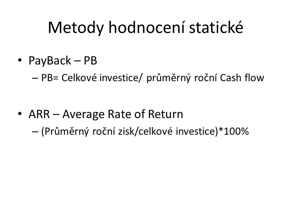 Metody hodnocení statické PayBack – PB – PB= Celkové investice/ průměrný roční Cash flow ARR – Average Rate of Return – (Průměrný roční zisk/celkové investice)*100%