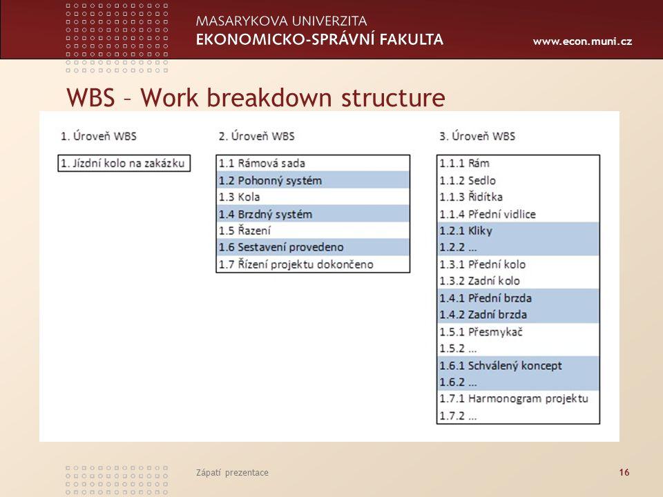 www.econ.muni.cz WBS – Work breakdown structure Zápatí prezentace16