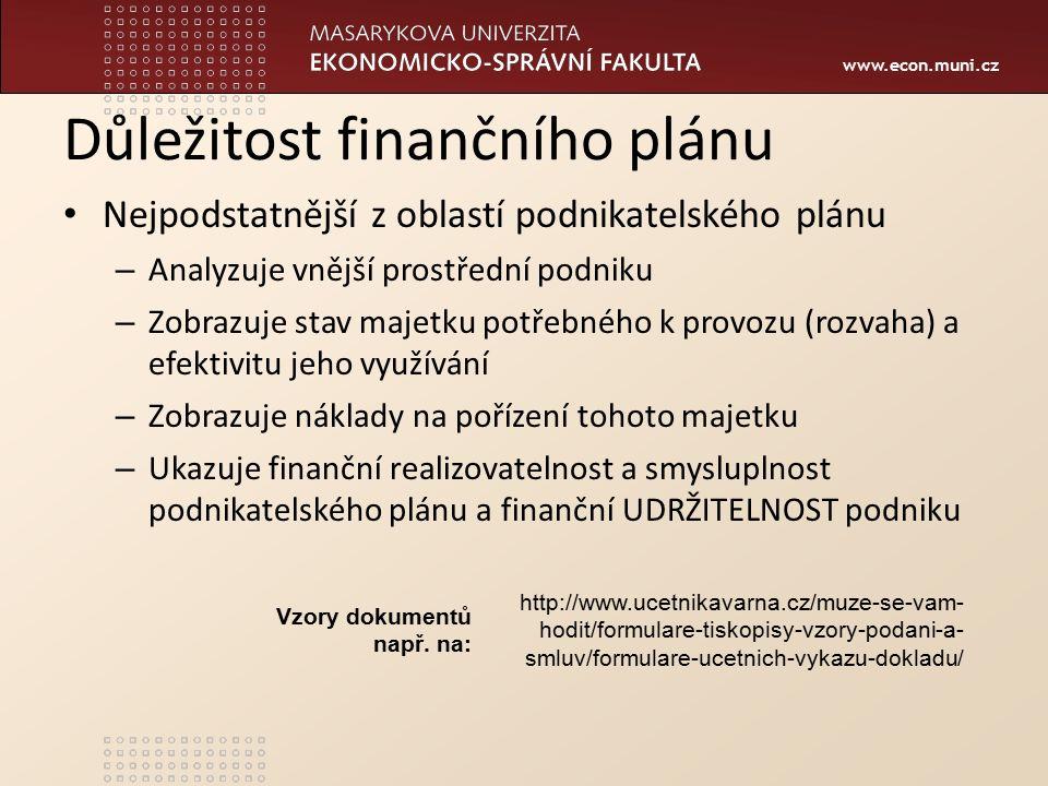 www.econ.muni.cz Důležitost finančního plánu Nejpodstatnější z oblastí podnikatelského plánu – Analyzuje vnější prostřední podniku – Zobrazuje stav majetku potřebného k provozu (rozvaha) a efektivitu jeho využívání – Zobrazuje náklady na pořízení tohoto majetku – Ukazuje finanční realizovatelnost a smysluplnost podnikatelského plánu a finanční UDRŽITELNOST podniku http://www.ucetnikavarna.cz/muze-se-vam- hodit/formulare-tiskopisy-vzory-podani-a- smluv/formulare-ucetnich-vykazu-dokladu/ Vzory dokumentů např.