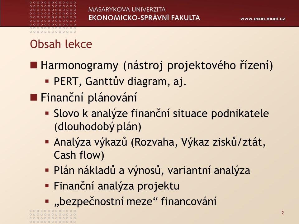 www.econ.muni.cz Obsah lekce Harmonogramy (nástroj projektového řízení)  PERT, Ganttův diagram, aj.