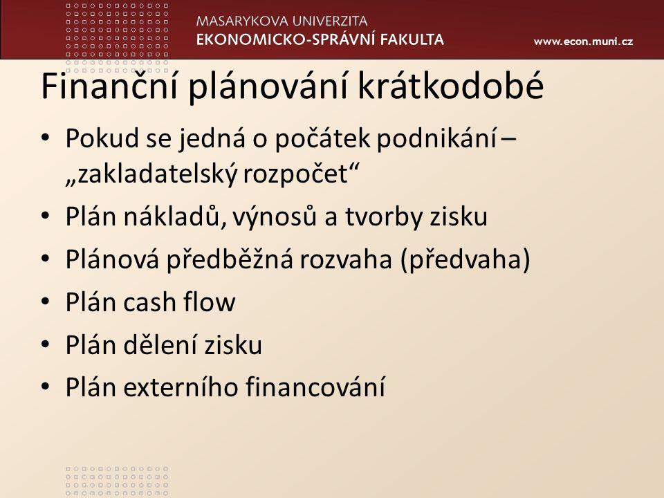 """www.econ.muni.cz Finanční plánování krátkodobé Pokud se jedná o počátek podnikání – """"zakladatelský rozpočet"""" Plán nákladů, výnosů a tvorby zisku Pláno"""