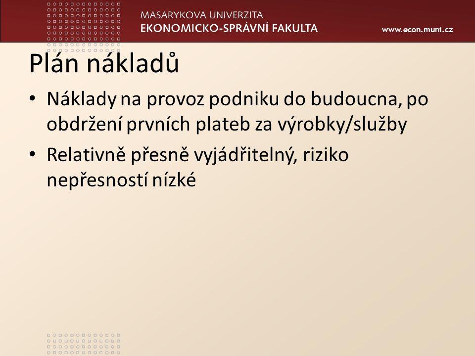 www.econ.muni.cz Plán nákladů Náklady na provoz podniku do budoucna, po obdržení prvních plateb za výrobky/služby Relativně přesně vyjádřitelný, riziko nepřesností nízké