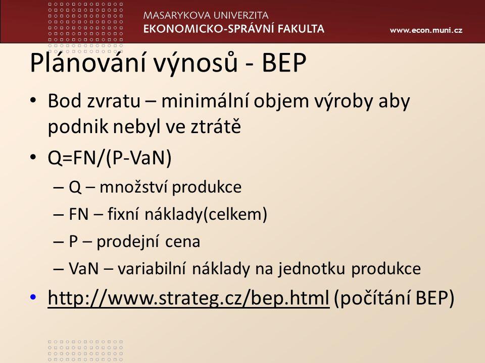 www.econ.muni.cz Plánování výnosů - BEP Bod zvratu – minimální objem výroby aby podnik nebyl ve ztrátě Q=FN/(P-VaN) – Q – množství produkce – FN – fixní náklady(celkem) – P – prodejní cena – VaN – variabilní náklady na jednotku produkce http://www.strateg.cz/bep.html (počítání BEP) http://www.strateg.cz/bep.html
