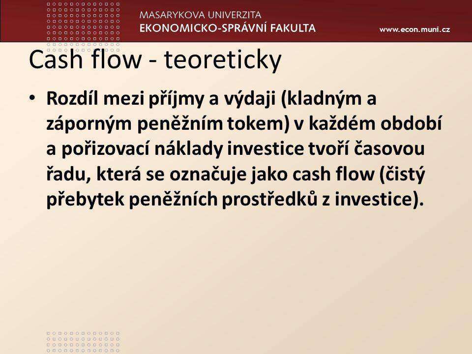 Cash flow - teoreticky Rozdíl mezi příjmy a výdaji (kladným a záporným peněžním tokem) v každém období a pořizovací náklady investice tvoří časovou řa