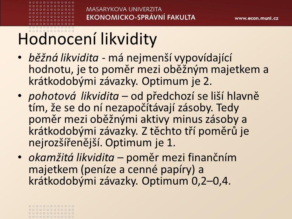 www.econ.muni.cz Hodnocení likvidity běžná likvidita - má nejmenší vypovídající hodnotu, je to poměr mezi oběžným majetkem a krátkodobými závazky.
