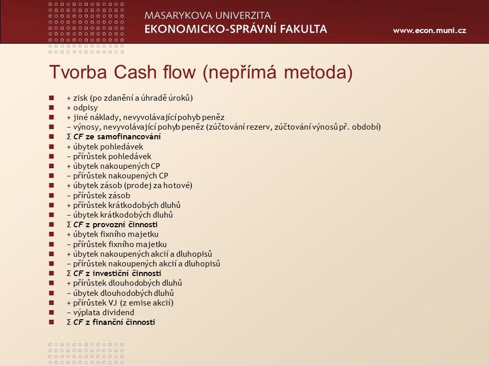www.econ.muni.cz Tvorba Cash flow (nepřímá metoda) + zisk (po zdanění a úhradě úroků) + odpisy + jiné náklady, nevyvolávající pohyb peněz − výnosy, nevyvolávající pohyb peněz (zúčtování rezerv, zúčtování výnosů př.