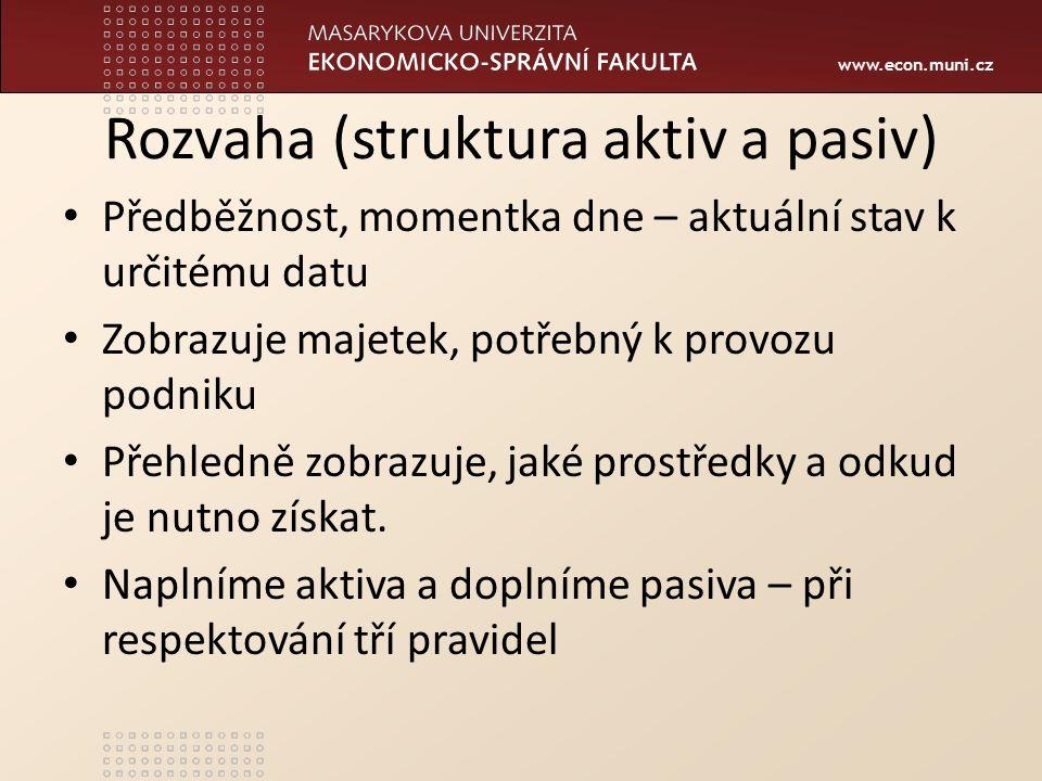www.econ.muni.cz Rozvaha (struktura aktiv a pasiv) Předběžnost, momentka dne – aktuální stav k určitému datu Zobrazuje majetek, potřebný k provozu pod