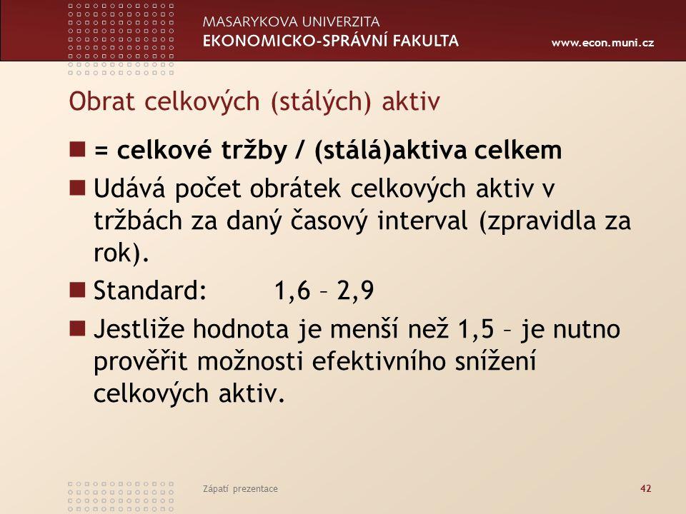 www.econ.muni.cz Obrat celkových (stálých) aktiv = celkové tržby / (stálá)aktiva celkem Udává počet obrátek celkových aktiv v tržbách za daný časový interval (zpravidla za rok).
