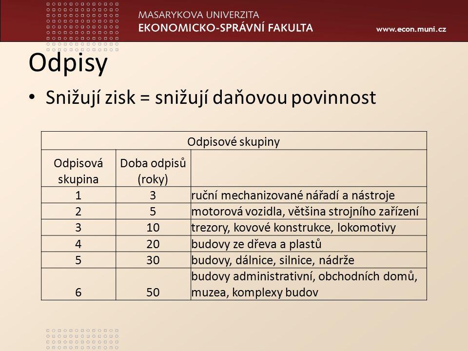 www.econ.muni.cz Odpisy Snižují zisk = snižují daňovou povinnost Odpisové skupiny Odpisová skupina Doba odpisů (roky) 13ruční mechanizované nářadí a n