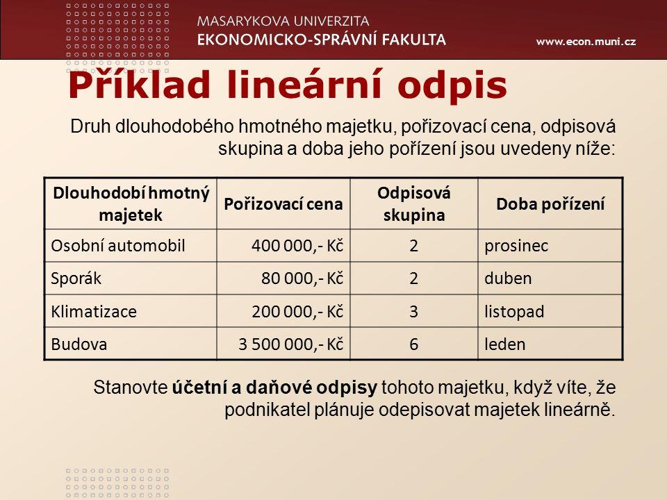 www.econ.muni.cz Příklad lineární odpis Dlouhodobí hmotný majetek Pořizovací cena Odpisová skupina Doba pořízení Osobní automobil400 000,- Kč2prosinec