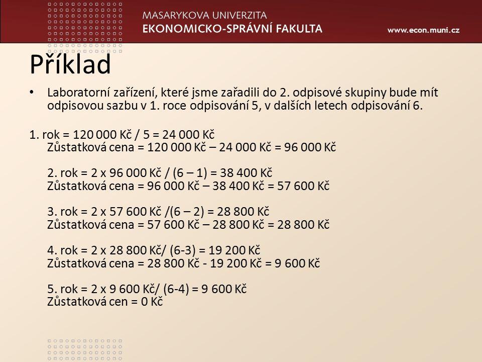 www.econ.muni.cz Příklad Laboratorní zařízení, které jsme zařadili do 2. odpisové skupiny bude mít odpisovou sazbu v 1. roce odpisování 5, v dalších l