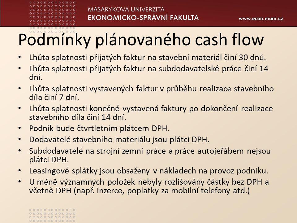 www.econ.muni.cz Podmínky plánovaného cash flow Lhůta splatnosti přijatých faktur na stavební materiál činí 30 dnů. Lhůta splatnosti přijatých faktur