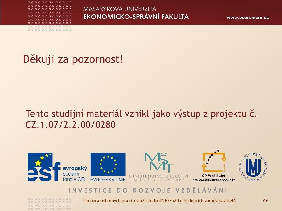 www.econ.muni.cz Děkuji za pozornost! 69 Podpora odborných praxí a stáží studentů ESF MU u budoucích zaměstnavatelů Tento studijní materiál vznikl jak