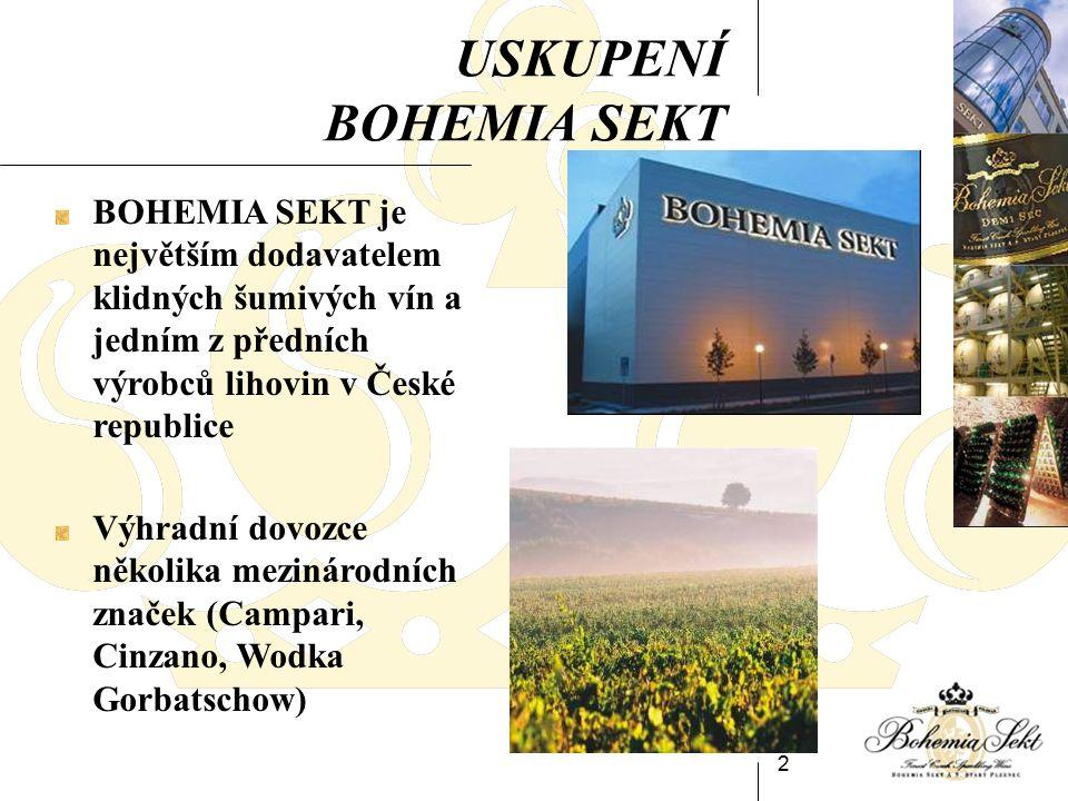 2 USKUPENÍ BOHEMIA SEKT BOHEMIA SEKT je největším dodavatelem klidných šumivých vín a jedním z předních výrobců lihovin v České republice Výhradní dovozce několika mezinárodních značek (Campari, Cinzano, Wodka Gorbatschow)