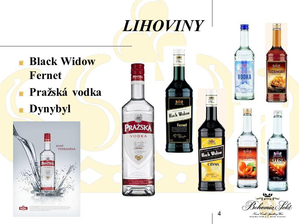 4 LIHOVINY Black Widow Fernet Pražská vodka Dynybyl