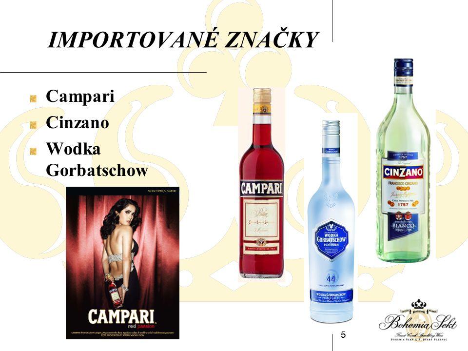 5 IMPORTOVANÉ ZNAČKY Campari Cinzano Wodka Gorbatschow