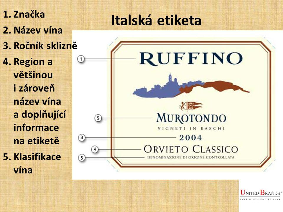 Italská etiketa 1.Značka 2.Název vína 3.Ročník sklizně 4.Region a většinou i zároveň název vína a doplňující informace na etiketě 5.Klasifikace vína