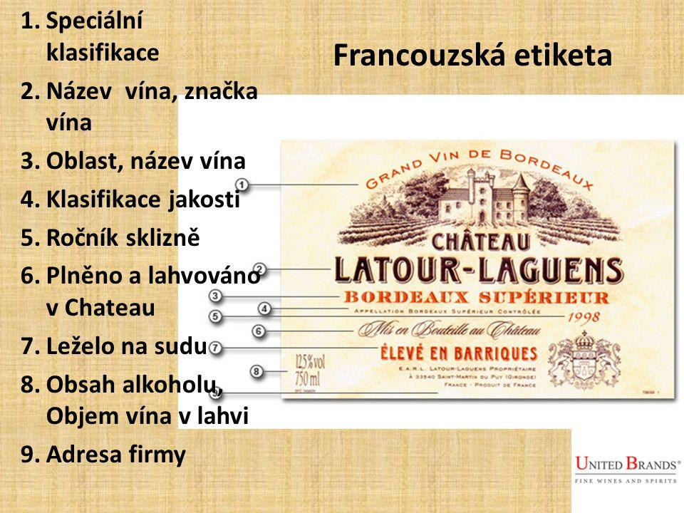 1.Speciální klasifikace 2.Název vína, značka vína 3.Oblast, název vína 4.Klasifikace jakosti 5.Ročník sklizně 6.Plněno a lahvováno v Chateau 7.Leželo na sudu 8.Obsah alkoholu, Objem vína v lahvi 9.Adresa firmy Francouzská etiketa
