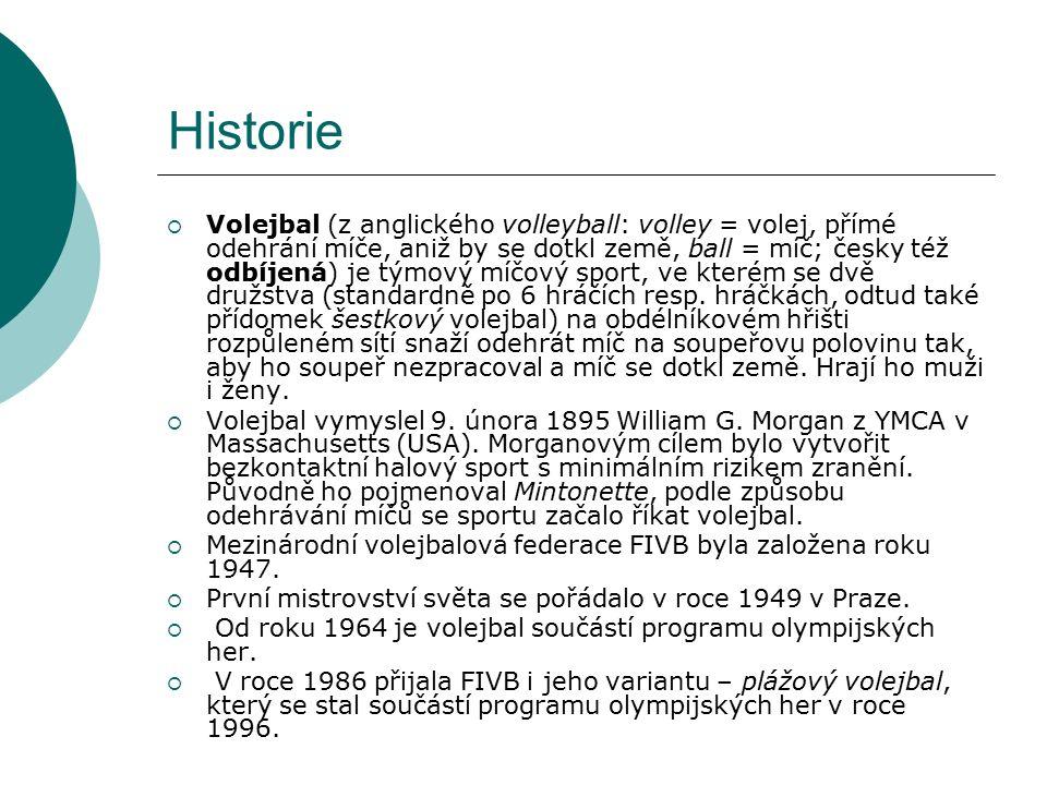 Historie  Volejbal (z anglického volleyball: volley = volej, přímé odehrání míče, aniž by se dotkl země, ball = míč; česky též odbíjená) je týmový míčový sport, ve kterém se dvě družstva (standardně po 6 hráčích resp.