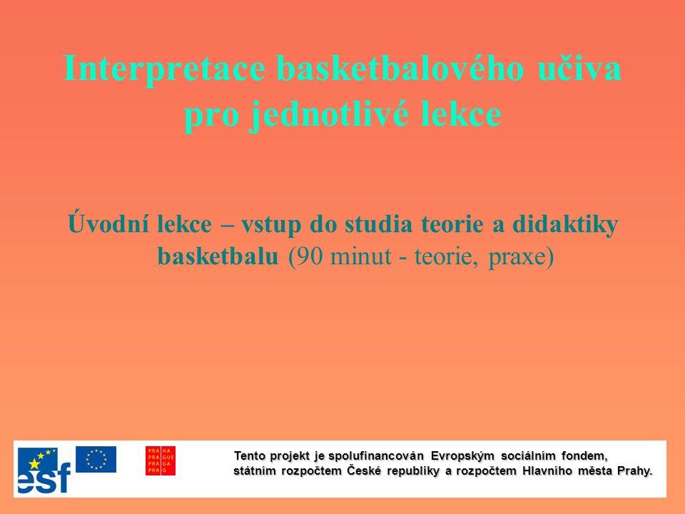 Interpretace basketbalového učiva pro jednotlivé lekce Úvodní lekce – vstup do studia teorie a didaktiky basketbalu (90 minut - teorie, praxe) Tento p
