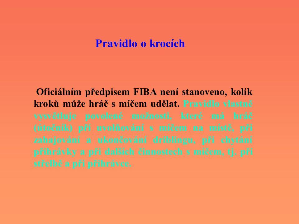 Pravidlo o krocích Oficiálním předpisem FIBA není stanoveno, kolik kroků může hráč s míčem udělat. Pravidlo vlastně vysvětluje povolené možnosti, kter