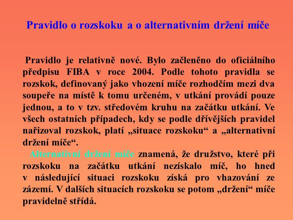 Pravidlo o rozskoku a o alternativním držení míče Pravidlo je relativně nové. Bylo začleněno do oficiálního předpisu FIBA v roce 2004. Podle tohoto pr