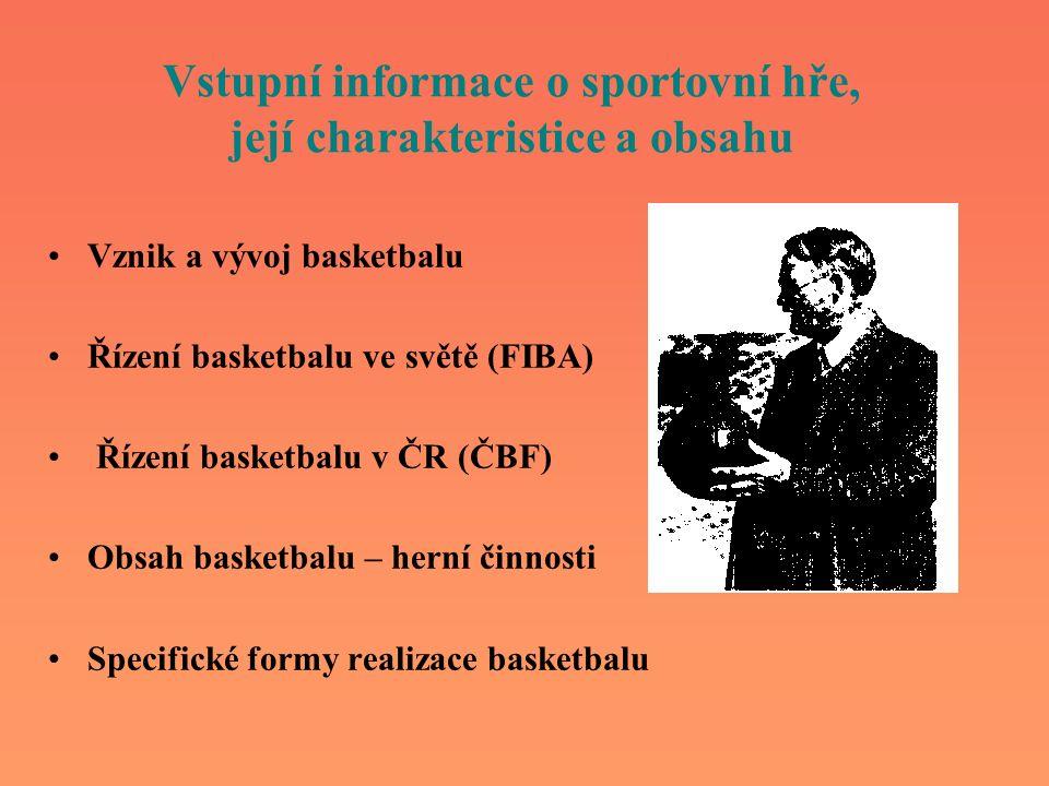 Vstupní informace o sportovní hře, její charakteristice a obsahu Vznik a vývoj basketbalu Řízení basketbalu ve světě (FIBA) Řízení basketbalu v ČR (ČB