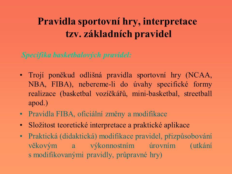 Pravidla sportovní hry, interpretace tzv. základních pravidel Trojí poněkud odlišná pravidla sportovní hry (NCAA, NBA, FIBA), nebereme-li do úvahy spe