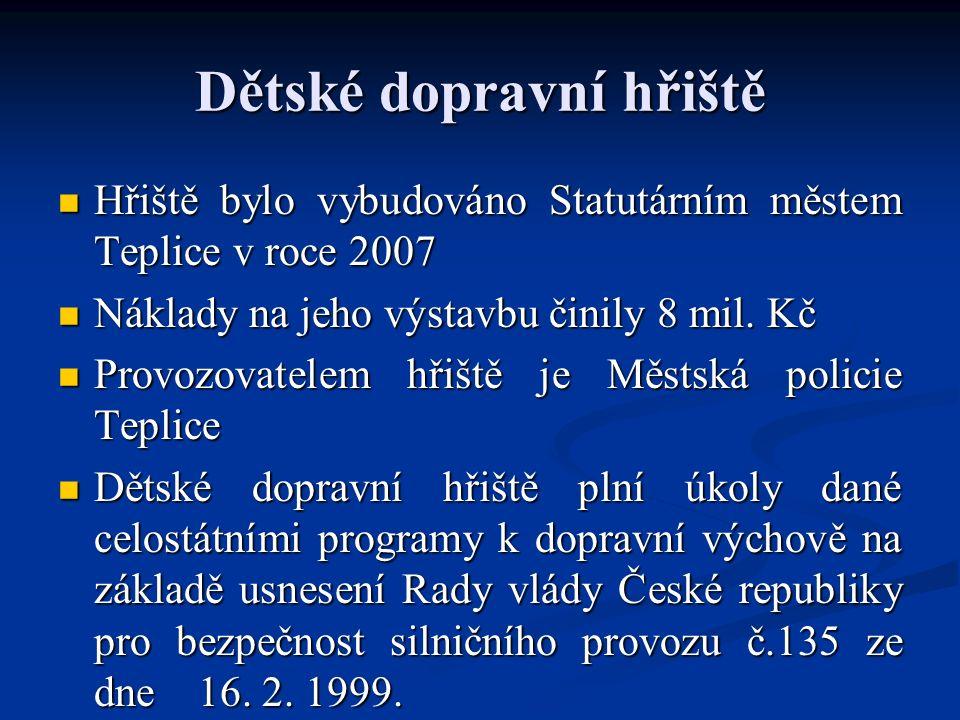 Dětské dopravní hřiště Hřiště bylo vybudováno Statutárním městem Teplice v roce 2007 Hřiště bylo vybudováno Statutárním městem Teplice v roce 2007 Náklady na jeho výstavbu činily 8 mil.